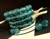 20 Dusty Blue Recycled Glass Beads, 8mm, Cadet Blue African Beads, Warm Blue Matte Beads, African Recycled Beads, Responsibly Sourced RE09