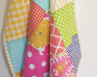 Pretty patchwork minky quilt