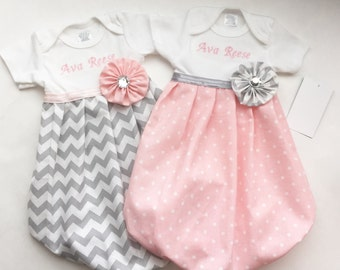Baby girl embroidered GOWN..in Polka dots OR Grey chevron..or both--girls clothing..