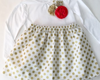 Holiday gold polka dots  OUTFIT--- top with flower collage in red and golds..Holiday Christmas wear