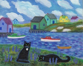 ORIGINAL PAINTING, Two Black Cats at Peggys Cove with Lupines, by DM Laughlin