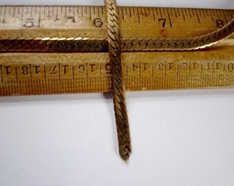 3 feet vintage raw brass flat curb chain 5mm wide - c20