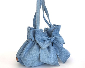 jean purse ,Recycled denim bow bag , light blue denim handbag , Fabric bag ,Vegan bag , Bow purse Upcycled clothing , Girls jean bag