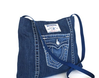 Recycled crossbody bag , blue jean side bag , girls denim bag ,  jean cross body purse , vegan denim cross over purse , denim purse