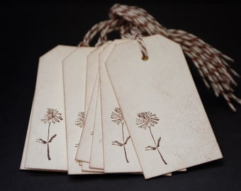 Small Dandelion Flower, set of 10, wedding favors, floral gift tags, wishing tree tags, wish tags, hang tags, hand stamped