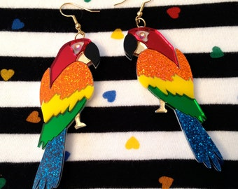 Tropical Parrot Laser Cut Acrylic Earrings