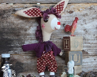 Quentin, whimsical donkey, collectible cloth doll, primitive, folk art doll