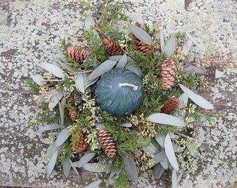 Fresh Greenery Candle  WREATH Juniper and Teal FREE candle & Free Shipping