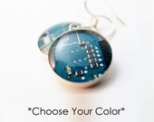 Circuit Board Earrings - Choose Your Color - Sterling Silver Earrings - Geeky Earrings - Engineer Gift