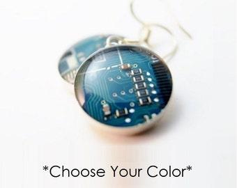Circuit Board Earrings CHOOSE COLOR, Sterling Silver Earrings, Geeky Earrings, Wearable Technology, Computer Jewelry, Engineer Gift