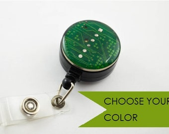 Recycled Circuit Board Retractable Badge Holder Reel Geek Gift