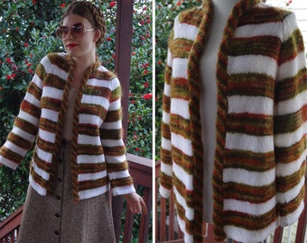 Olive + Rust 1960's Vintage Olive Green White + Rust Striped Mohair Cardigan Sweater // size Medium // Open Front