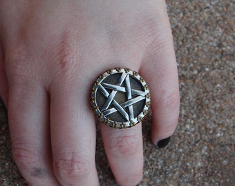 Large Silver Toned And Brass Pentagram Ring By Ugly Shyla   Witch Jewelry Inverted Occult Moon Dark Goddess