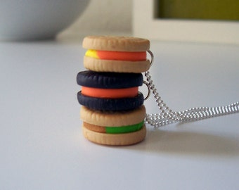 Fall Sandwich Cookie Necklace - polymer clay miniature food jewelry