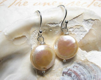Champagne, Freshwater Coin Pearl Earrings