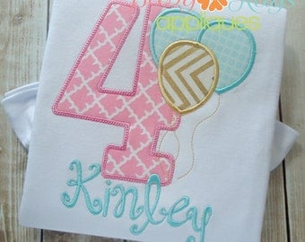 Birthday Numbers with Balloons Applique Design 1-9 4x4, 5x7, 6x10, 8x8