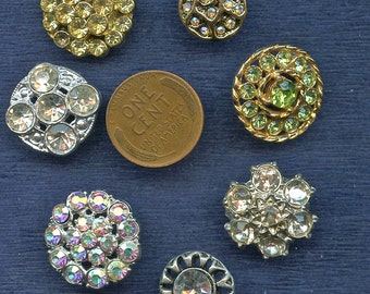 Vintage Rhinestone Buttons Lot of (6) Sparkly Different Silver Gold Metal 2438