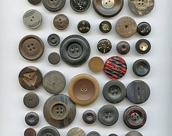 Victorian Composition Buttons Lot  (37) Shell Glitter Assorted Antique 1705