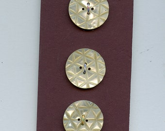 AMAZING CARVED  Shell Buttons  Set of Three 3 Matching Vintage  1 1/16 inch size 2024