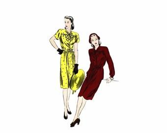 1940s Tie Collar Slim Skirt Dress Vogue 5025 Vintage Sewing Pattern Size 16 Bust 34 UNCUT