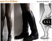 SALE25%off/// brand new color GREY plus size XXL sexy Flora tattoo tights / stockings full length pantyhose