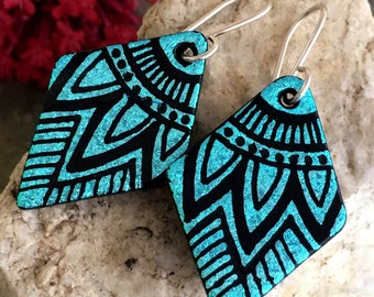 Mandala Hand Etched Dichroic Earrings Fused Glass & Sterling Silver Handmade Wires Gorgeous Turquoise Blue