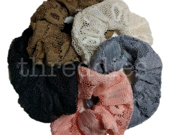 Lace Scrunchie Set, One of Each Color, 5 Lace Scrunchies