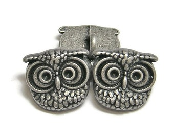 Owl Buttons - Silver Buttons - Metal Button - Metal Shank Buttons - 15mm - 2 or 4pcs (4850)