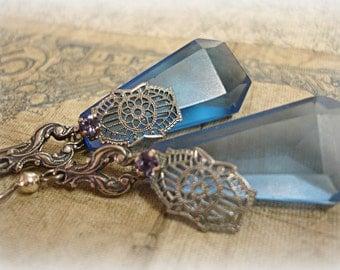 out of the bLue vintage assemblage earrings . 1920s matte sapphire chandelier crystals swarovski rhinestone deco bracelet links