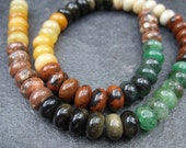 Jasper and Agate Rondelle Beads - One Strand