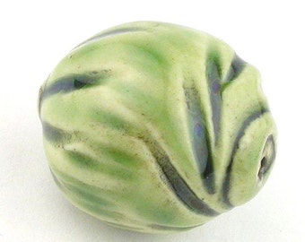 Round Ceramic Beads, Ceramic beads, Handmade Round Beads, Green beads, Swirly Beads, Chunky Beads, Focal Beads, One of a kind Beads