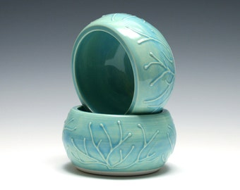 Set of Two Small Turquoise Bowls with Raised Branches