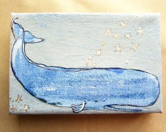 original painting of a whimsical whale on 4x6 canvas