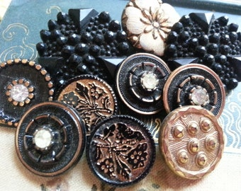 Gold Luster and Black Glass, Buttons. Ten Buttons.