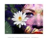 Goddess Art Canvas - 8x10 Lakshmi Art by Christopher Beikmann - Full Moon Lakshmi - New Age Hindu Goddess Art