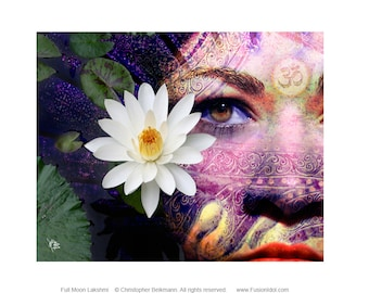Goddess Art Canvas - Lakshmi Art by Christopher Beikmann - Full Moon Lakshmi - New Age Hindu Goddess Art with Lotus Flower