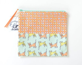 Eye Bow Tie + Cats Flat Patchwork Pouch | Cute and Quirky Original Fabric