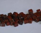 4mm BRECCIATED JASPER GEMSTONE Cube Beads (50) Destash GEM50