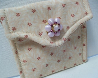 Quilted Little Case, Rosary Case, Card Case, Pouch, Gift case, pink, organizer, wedding bridal rosary, First Communion