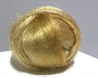 Golden Sand Firestar, roving, wet, Needle Felting, Spinning Fiber, roving, .5 oz, pale gold, light gold, blonde, similar to Icicle Top