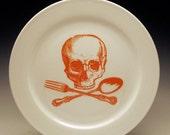 ON SALE skull and cross-utensils 9 inch dinner plate in Orange SALE Item
