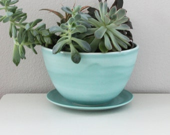 Turquoise Planter - Porcelain Planter with Drainage Hole and Catch Plate in Turquoise - Handmade Pottery Planter