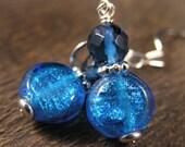 Blueberry quartz stone, silver foil lentil beads and silver handmade earrings
