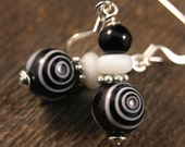 SALE black and white patterened glass beads and silver handmade earrings