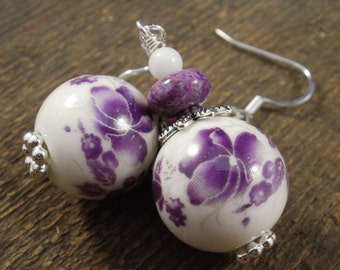 Purple amethyst flower ceramic beads, raspberry crazy lace agate stone and quartz beads silver handmade earrings
