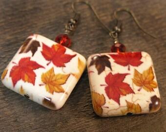 Falling leaves earrings, large stone beads orange yellow brown white antique brass handmade earrings