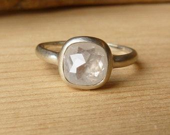 White Cushion & Oval Rose Cut Diamond Rings - deposit