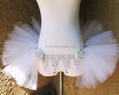 White Silver Roses Open in the front Rave Bustle TuTu, Half TuTu, Adult Tulle TuTu Skirt, DanceWear