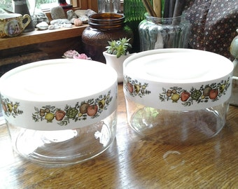 2 Small Pyrex Clear Glass Storage Canisters.
