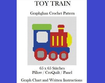 Toy Train - Graphghan Crochet Pattern - Pillow/Pillow/CroQuilt